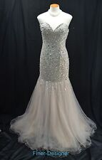Terani Couture Dress Mermaid Strapless Beaded Tull Formal Wedding Gown long SZ 8