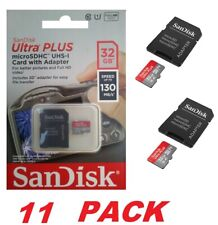 SanDisk Ultra PLUS 32GB microSDHC UHS-I Memory Card with Adapter 130 MB/s (11PK)