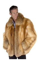 Men's Real Natural Red Fox Fur Jacket Large - Zippered
