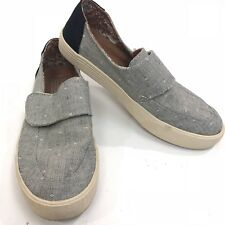 TOMS Altair Sz 8 Gray Black Chambray Canvas Loafers Floral Sneaker Shoe Womens