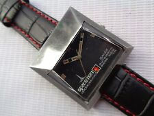 VERY RARE SUPER VTG SWISS OMAX SPACEMAN BLACK DIAL GENTS AUTOMATIC WATCH