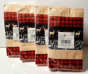 Lot Of 96 Red Plaid Reindeer Pine Paper Napkins Party Dual-Sided Celebrate It