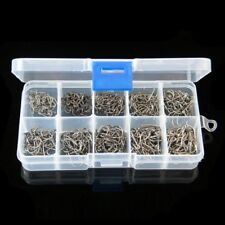 Lot 500Pcs 10 Sizes #3~#12 Fishing Hooks Sharp Carbon Steel Fish Tackle Box Set
