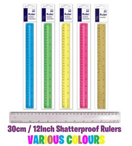30cm / 12inch Ruler - Shatterproof Flexible - Various Colours School Office Work