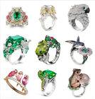 925 Silver Animal Emerald White Topaz Woman Men Wedding Bridal Ring Size 6-10