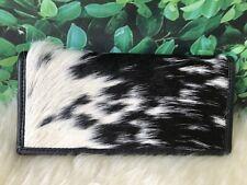 Cowhide Wallets for Women Slim Wallet Black Calf Leather Clutch Purse Bifold