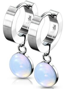 *NEW & SEALED - Quality Opalite Precious Stone Hoop Pair Of Earrings