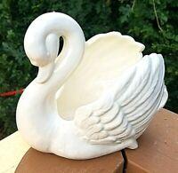 Vintage White Ceramic Swan Planter Bowl Candle Holder