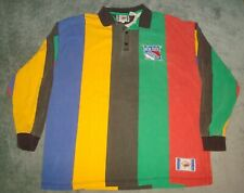 VTG 90s NY RANGERS STRIPED COLOR BLOCK LONG SLEEVE COLLAR SHIRT LARGE NEW YORK