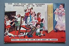 R&L Postcard: Comic, Corona 1085, Married Man Large Family, Piano Playing Boy