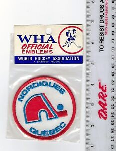 """Vintage 1970s WHA Quebec Nordiques 3"""" (8 cm) Patch Sealed in Original Packaging"""