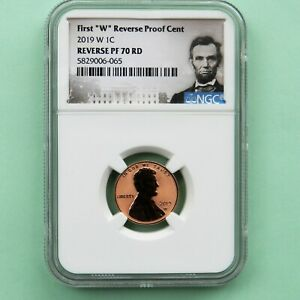 """2019 W REVERSE PROOF Lincoln Cent NGC PF 70 RD, (First """"W""""), Portrait Label"""