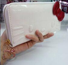 Hello Kitty White Enamel Long Wallet Zip Around Clutch Purse Bag K612