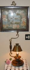 FABULOUS LARGE HEAVY COLONIAL COPPER BRASS WOOD CANDLE STICK LAMP