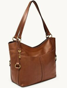 Fossil Sam Brown Leather Tote ZB1464200 Shoulder Bag Brass NWT $268 Retail FS