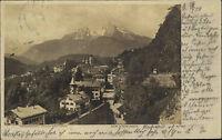Berchtesgaden Bayern alte Postkarte um 1900 Teilansicht mit Blick auf die Berge