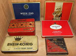 "6 boites cigarettes MURATTI'S BALTO WEEK-END CRAVEN ""A"" Rhein-König Bcaferlati"