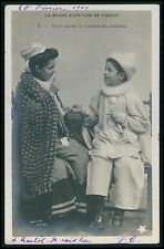 Clown Pierrot Child Boy Mother Mom original vintage old 1910s photo postcard a5