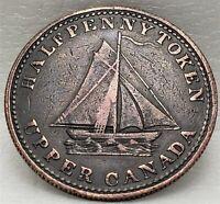 UC-12B2 Halfpenny token 1833 Upper Canada Copper To Facilitate Trade Breton 730