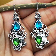 Delcate Aquamarine Prehnite Silver  Women Jewelry Dangle Earrings Gift FH8937