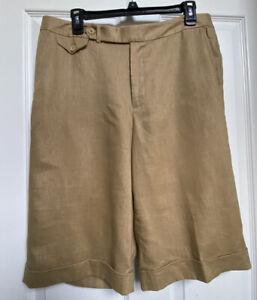 *NEW!* Tahari Women's Bermuda Walking Linen Shorts Khaki Tan Cuffed Lined Size14