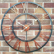 LARGE TRADITIONAL ROMAN NUMERALS INDOOR GARDEN WALL CLOCK OPEN FACE METAL 70 CM