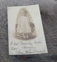 Antique Real Photo Postcard Little Girl Toddler Standing in Chair Victorian #145