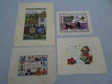 4 Vintage Completed Counted Cross Stitch Samplers Bless This House Quilt Amish