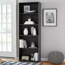 "71"" Tall Wood 5 Shelf Bookcase Closed Back Storage Shelves Bookshelf Book Case"
