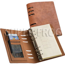 A6 Leather Lined Notebook Soft Feel Notepad Writing Pad Ruled Ring Binder Brown