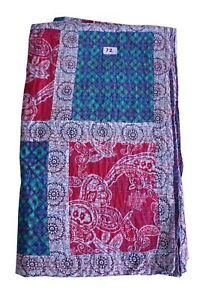 Indian Handmade queen Patchwork rali Kantha Quilt Blanket Bedding throw Bedcover