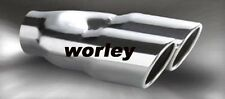 """2.3"""" inlet Stainless steel dual round angle cut rolled Exhaust Tip tailpipe"""