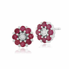 Ruby White Gold Diamond Fine Earrings