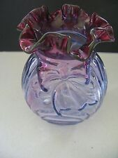 "Lovely Fenton Art Glass Mulberry Bow & Shell 6 1/2"" Vase W/ Ruffled Edge"
