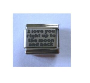 9mm Italian Charm L117 I love you right up to the moon Fits Classic Size
