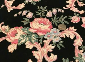 """Pink&Blue Flowers*Green Leaves*Gold Outline/Black *Peter Pan* 100% Cotton*22""""x8"""""""