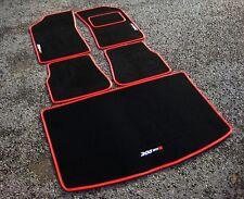 Car Mats in Black/Red Trim to fit Peugeot 205 + 205 GTi6 Logos (x3) + Boot Mat