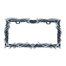 3D TRIBAL FLAME DIE CAST ZINC CHROME FINISH LICENSE PLATE FRAME - CAR TRUCK SUV