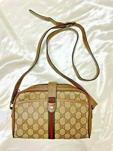 Authentic vintage Gucci GG sherry line PVC leather crossbody shoulder hand bag