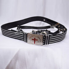 Masonic Knight Templar Sword belt Silver Wire Braided and Chrome Plated Buckle