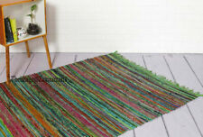 Green Chindi Rug 152x91 Cm & 180x120 Cm Square Area Rug Hand Woven Floor Rugs