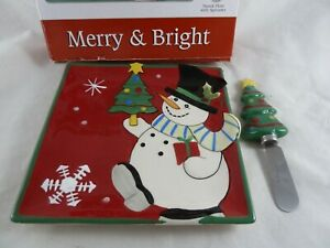 Fitz and Floyd Merry & Bright Christmas Snack Plate with Spreader Holiday Cheese