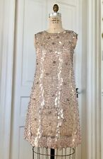 Vintage 1960's Sequinned Pale Pink Sheer Go Go Dress Shift Size 6 See Through