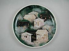 "Sascha Brastoff 10.5"" Plate Rooftops Houses Black Green Gold White Rim Round"