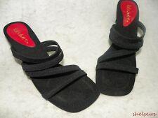 "Fabulaire Black ""Trixie""  Strappy Sandals 6M All Elastic Straps Super Comfort"