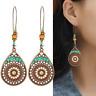 Bohemian Ethnic Style Women Earrings Vintage Hollow Enamel Water Drop Earrings