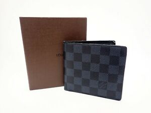 Authentic Louis Vuitton Wallet Damier Cobalt Bifold Marco N63213 Men's