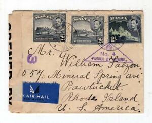 Malta 1940's Censored Cover to the USA - No Reserve!