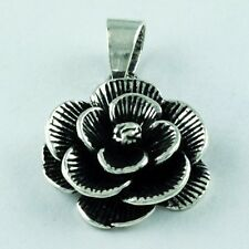 "925 SOLID STERLING SILVER "" ROSE FLOWER DESIGN PENDANT """