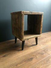 Reclaimed Wood Mid-Century Square Side Table